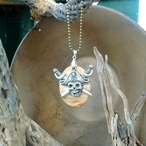 Crystal Tortoise Accessories - Natural Jasper silver pirate necklace
